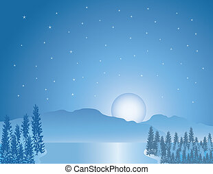 beautiful moon over the mountains a