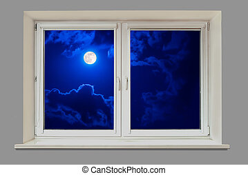 Beautiful moonlit night view from the window