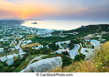 Beautiful morning aerial view of the village Kefalos, Kastri island and the coast of Kos, Dodecanese, Greece