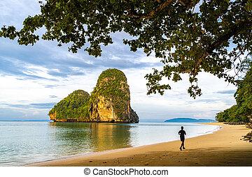 Beautiful morning at Pranang Cave Beach, Railay, Krabi, Thailand