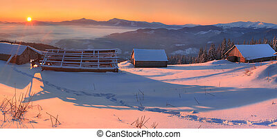 Beautiful morning landscape in the Carpathian mountains