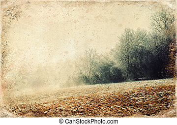 Beautiful morning mountains in fog and old photo effect. - ...