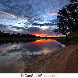 river landscape at dawn