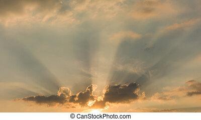Beautiful morning sky with sun rays.
