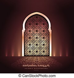 beautiful mosque door with lights and pattern design & Masjid door with falling lights.