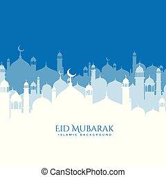 beautiful mosque scene eid mubarak background
