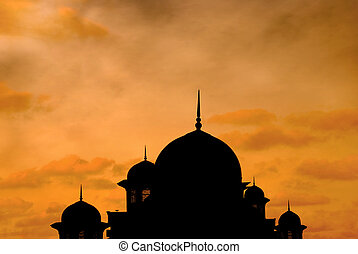 mosque  - beautiful mosque silhouette during sunset