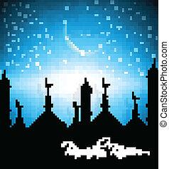 Beautiful mosque with bright colorful Ramadan Kareem on blue bac