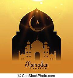 beautiful mosque with falling light, ramadan kareem background