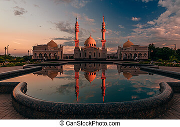 Beautiful Mosque with Reflection on Water