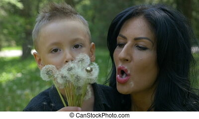 Beautiful mother and cute little boy blowing together dandelion seeds smiling and relaxing in family vacation