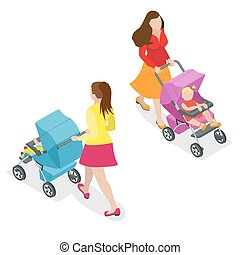 Beautiful mother on walking with baby in stroller. Isometric 3d vector illustration. Woman with baby and pram isolated on white