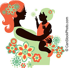 Beautiful mother silhouette with baby