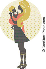 Beautiful mother silhouette with baby in a sling, retro illustration