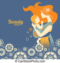 Beautiful mother silhouette with baby in a sling and floral...