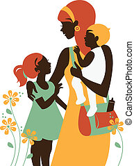 Beautiful mother silhouette with her children. Card of Happy...