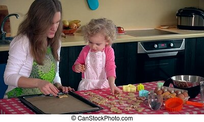 Beautiful mother with cute little daughter girl place cookies into oven tin