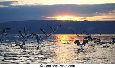Beautiful Mountain Baikal Lake. Sunset over the mountain...