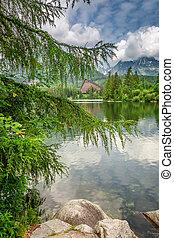 Beautiful mountain lake in Strbske Pleso in theTatra mountains