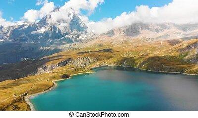 beautiful mountain lake near Matterhorn - beautiful aerial...