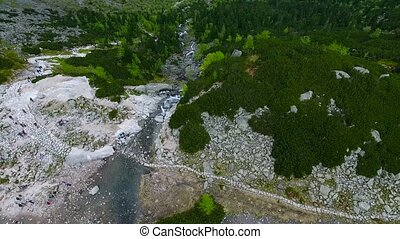 beautiful mountain lake with waterfals