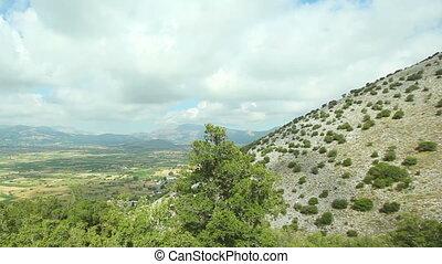 Beautiful mountain landscape against the blue sky.