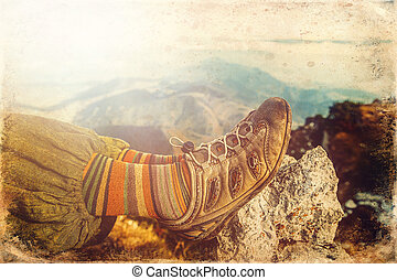 Beautiful mountain landscape and woman hiking shoes, old ...