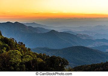 Beautiful mountain landscape at dawn