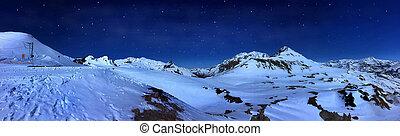 mountain landscape by night