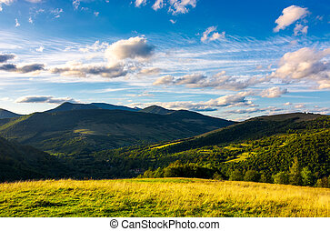 beautiful mountain landscape in afternoon. grassy meadow and...