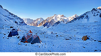 Beautiful mountain landscape in the Himalayas with high camp
