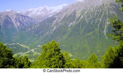 Beautiful mountain landscape in the Swiss alps in the summer.