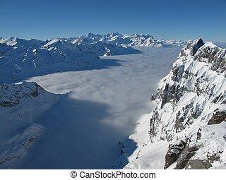 Beautiful mountain landscape in the winter, sea of fog