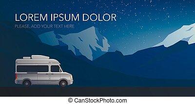 Beautiful mountain landscape modern small size camper van motor home.
