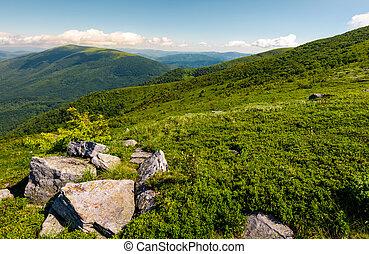beautiful mountain landscape on summer morning. boulders...