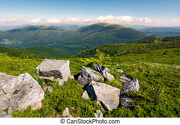 beautiful mountain landscape on summer morning. boulders...