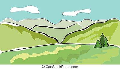 Beautiful mountain landscape. Vector illustration