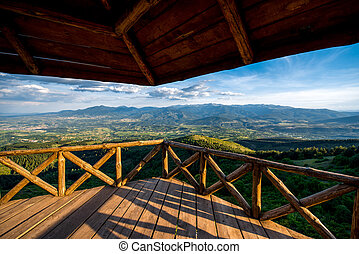 Beautiful mountain landscape view from the terrace -...