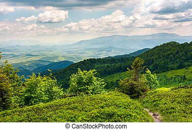 beautiful mountain landscape with grassy hills. blue sky...