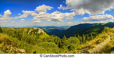 Beautiful mountain panorama in the Balkans on a summer day