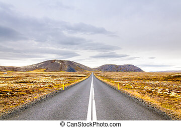 Beautiful mountain road in Iceland
