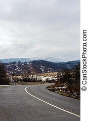 beautiful mountain road on a rainy day