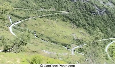 Beautiful mountain road with hairpin bends in Norway.