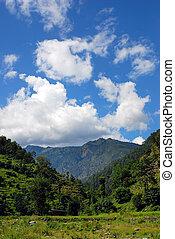 beautiful mountain rural landscapes of himalayas,nepal