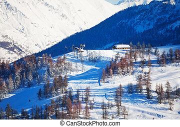 Beautiful mountain scene of slopes at ski resort