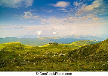 Beautiful mountain scenery on summer day