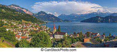 Beautiful mountain scenery with village Weggis at Lake Lucerne, Switzerland