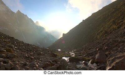 Beautiful mountain steam and brown rocks 4K shot