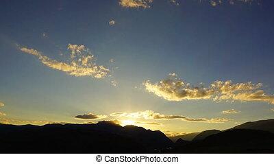 beautiful mountain sunset - zoom timelapse