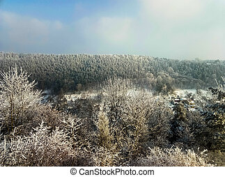 beautiful mountain view from above forest winter in Ukraine